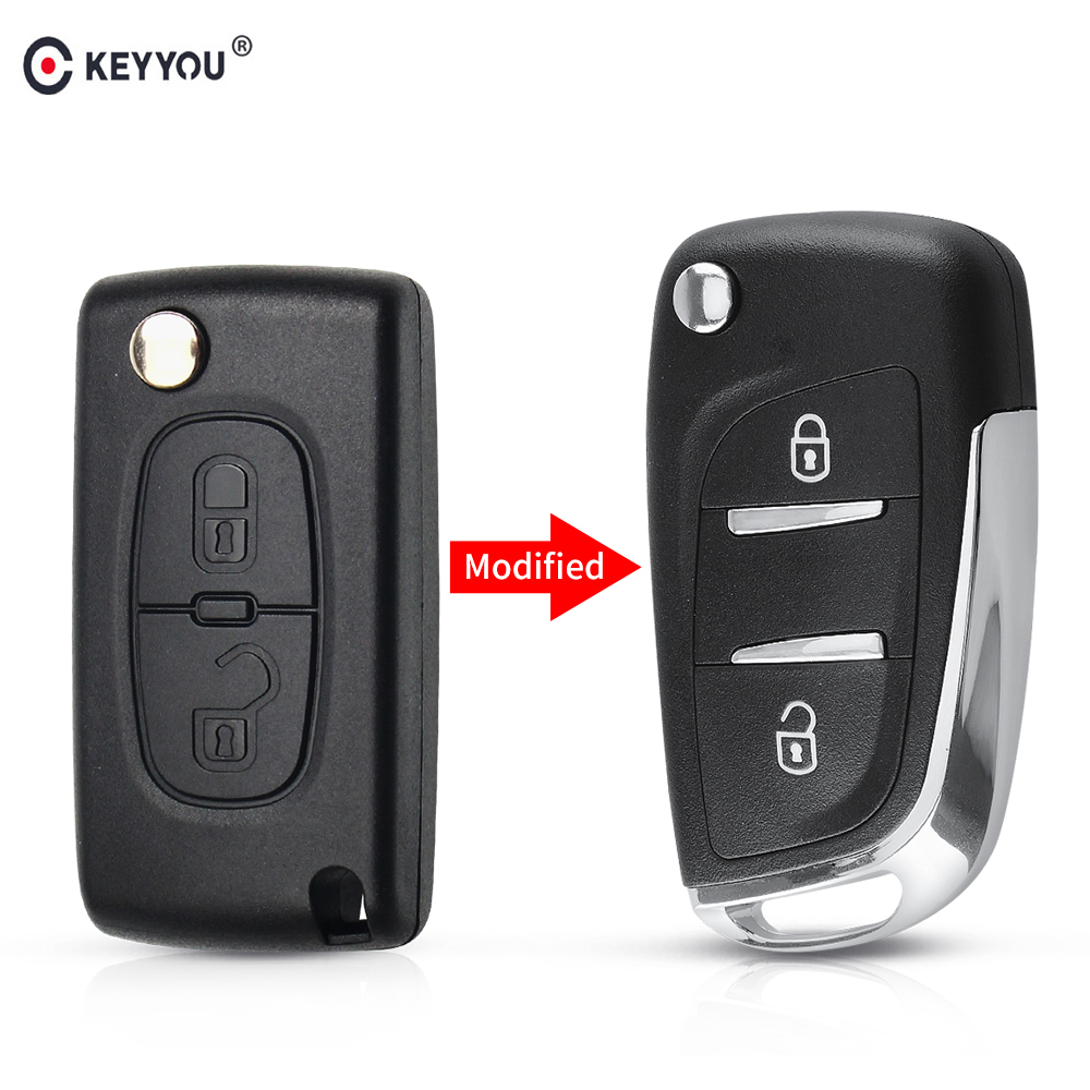 KEYYOU modifié Flip clé de voiture Shell clé à distance pour citroën C2 C3 C4 C5 C6 XSARA PICA pour Peugeot 306 407 807 CE0523