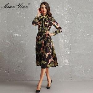 Image 3 - MoaaYina Fashion Designer Runway Dress Autumn Women Long sleeve Bowknot Animal Printed Slim Vintage Black Elegant Draped Dress