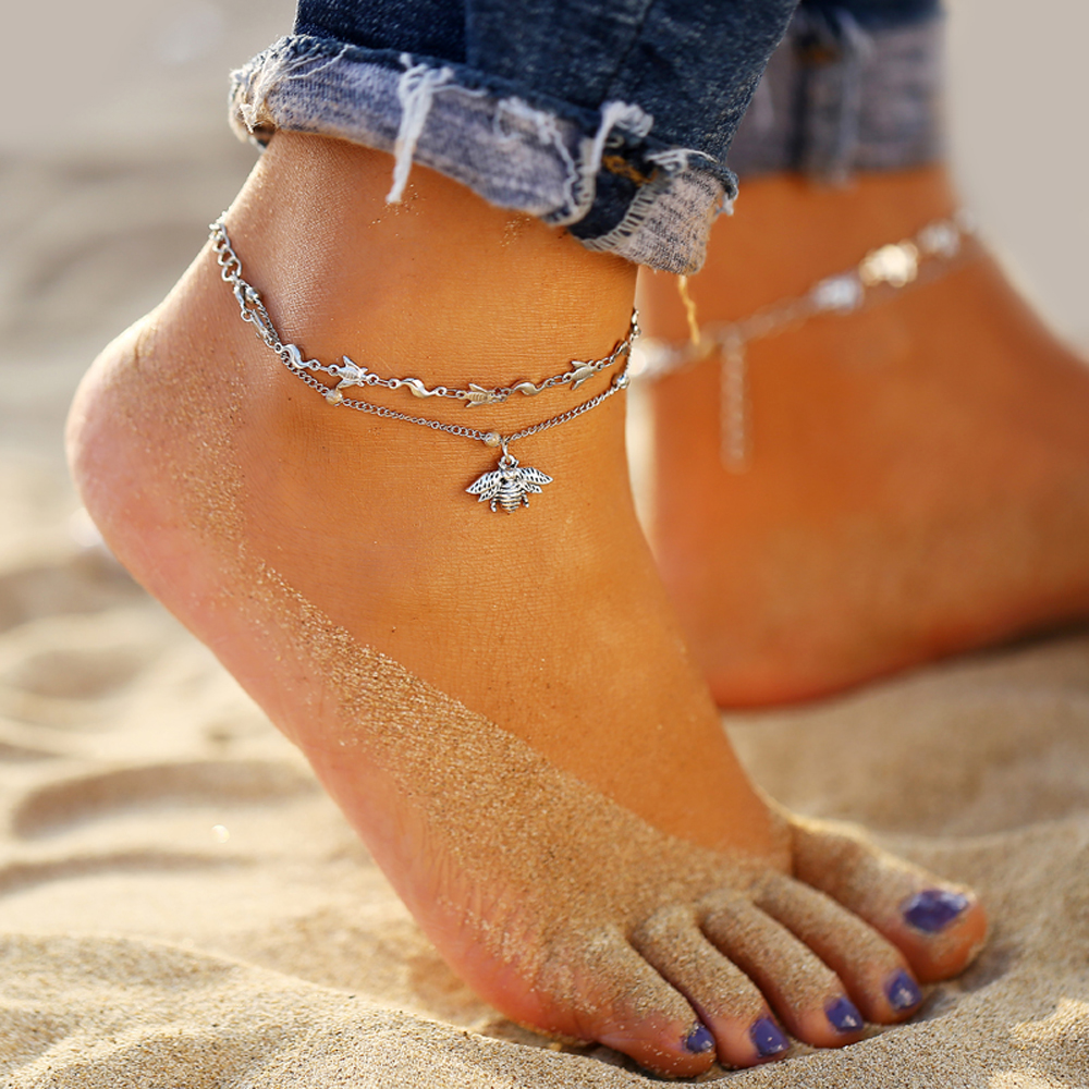 IF ME Bohemian Vintage Silver Color Flower Anklets for Women Multilayer Beach Bracelet on Leg Ankle Foot Female Jewelry 2019 NEW 4