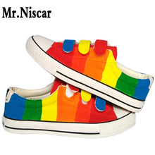 Mr.Niscar Fashion Women Casual Sneakers Breathable Custom Rainbow Stripes Hand Painted Canvas Shoes Lady Girls Rubber Sole Flats