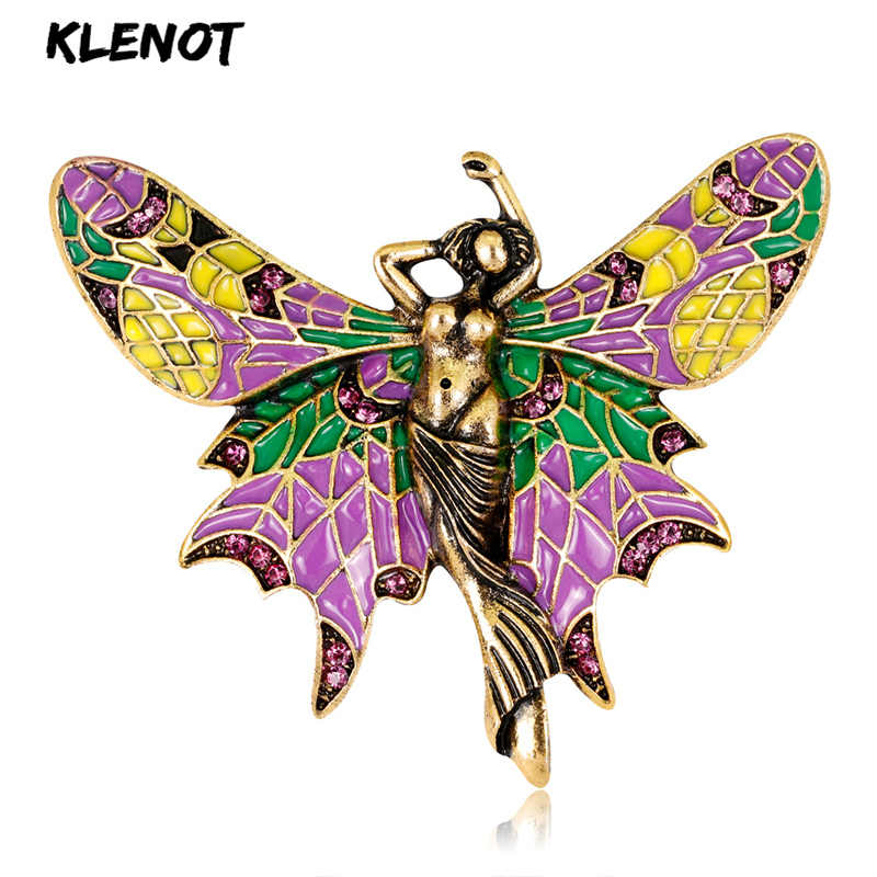 Enamel Animal & Insect Butterfly Pins and Brooches for Women Mermaid Pin Pink Crystal Angel Wings Brooch Clothes Jewelry Banquet