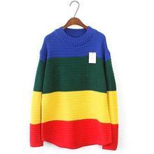 Harajuku Радуга свитер женские винтажные в полоску с О-образным вырезом топы свободные рукава Длинные Топы женские корейский Модный пуловер дамы 2017