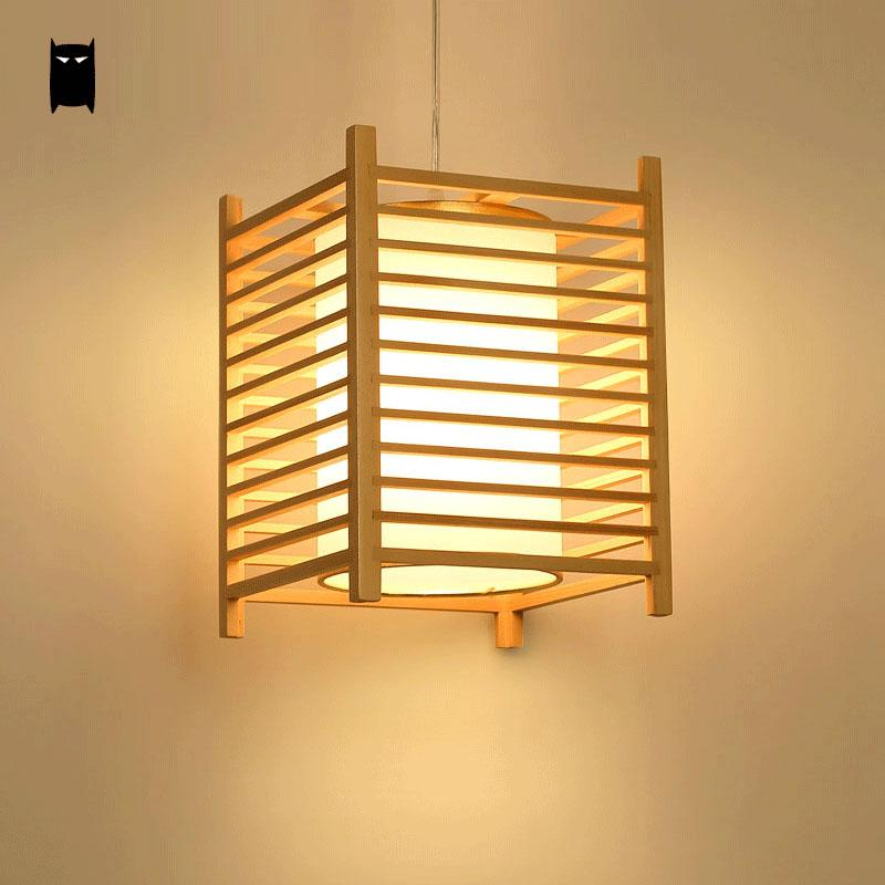 Wood Tatami Pendant Light Fixutre Rustic Korean Asian Japanese Style Hanging Lamp Indoor Home Luminaria Dining Room Restaurant