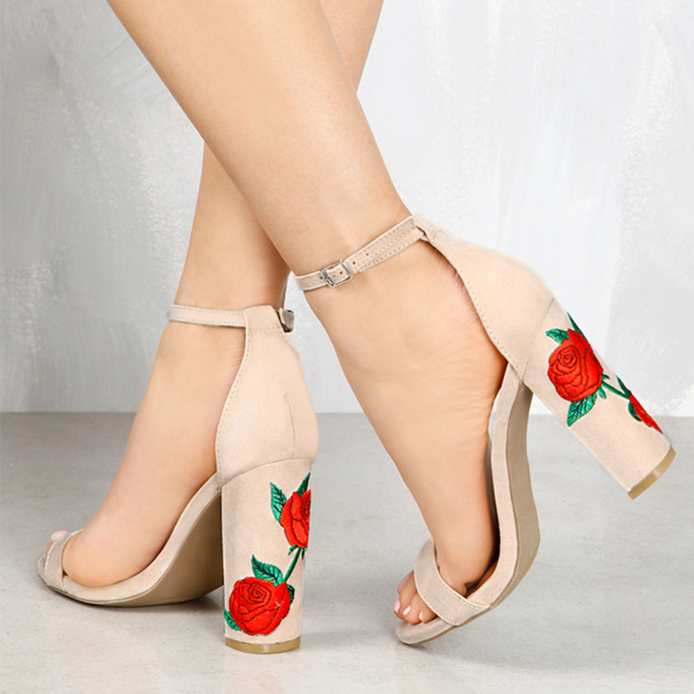 Women Suede Embroidered Thick High Heeled Sandals