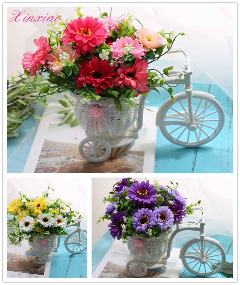 Vase flowers artificial silk cineraria flower basket set for Artificial flower decoration for home