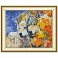 The Wolf Couple Counted Cross Stitch 11CT 14CT Cross Stitch Set Chinese Animals Cross-stitch Kits Embroidery Needlework