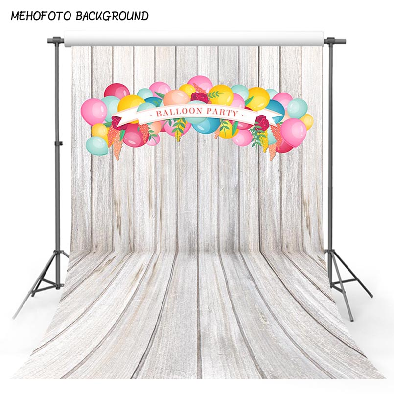 Vinyl Photography Background White Wooden Floor Birthday Balloons Baby Photo Shoot Children Backdrops for Photo Studio S-3059