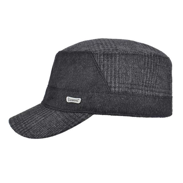 630c4d0ecd0 US $32.99 |KENMONT Men Black Woolen Cadet Visor Hat Autumn Spring Patchwork  Baseball Cap Fashion New Outdoor Ski Peak Hats 2417-in Baseball Caps from  ...