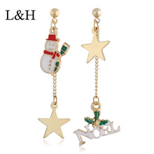 L&H 2018 New Female Christmas Long Drop earrings Boho Classic Gold Color Santa Claus Star Earrings For Women Fashion Jewelry