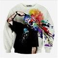 2015 Осень/зима новый толстовка мужская мода 3D футболка новинка пистолет клоун печати