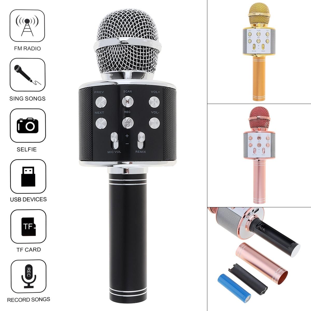 Professional Bluetooth Wireless Microphone Speaker Handheld Microphone Karaoke Mic Music Player MIC Singing Recorder KTV Micr