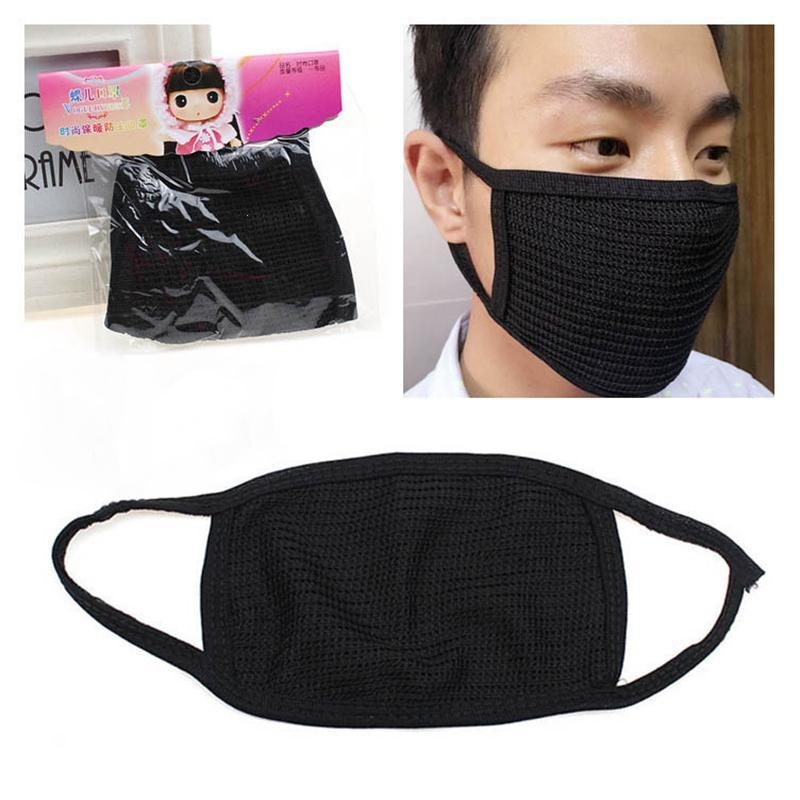 Black Face Mask Cotton Mouth Mask Anti Haze Dust Masks Filter Windproof Mouth-muffle Bacteria Flu Fabric Cloth Respirator S3 Strong Packing Apparel Accessories Men's Accessories