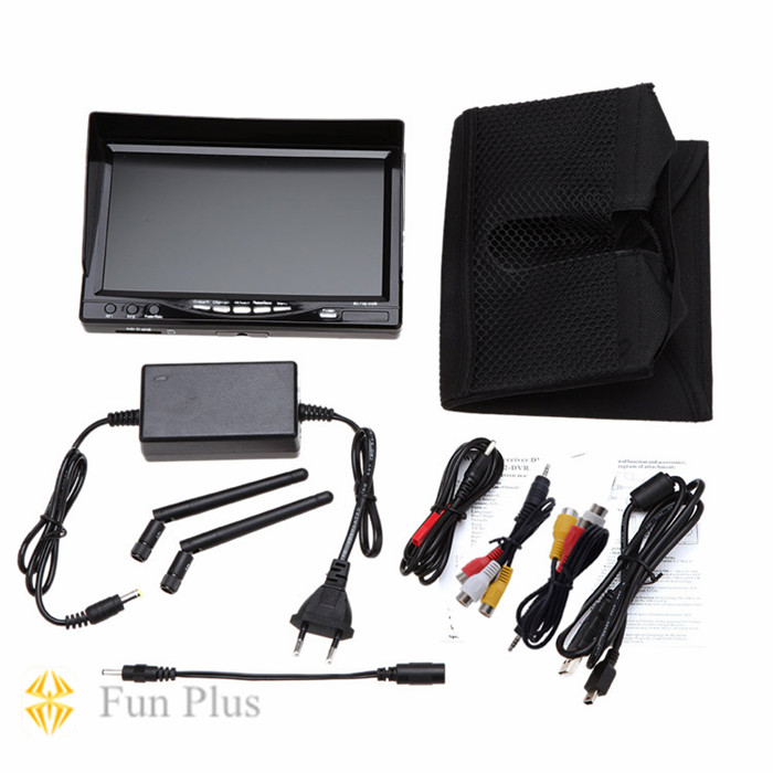RC732-DVR All-in-one 7 Inch 800*480 HD LCD FPV Monitor Built-in Battery rc732 dvr 7 inch 800 480 hd lcd fpv monitor built in battery fpv boscam hd08a 1080p full hd waterproof sports camera