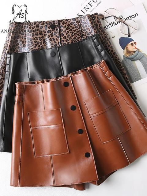 Spring shorts women Sheepskin Genuine leather shorts black brown leopard print high waist pocket short feminino Sexy hot shorts