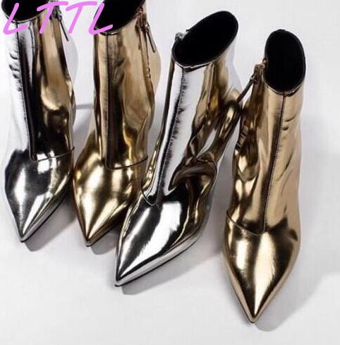 Spring Hot Mirror Leather Women Sexy Pointy Toe Boots Fashion Metallic Gold/Silver Ladies High Heel Boots 2017 Hot Stiletto Boot