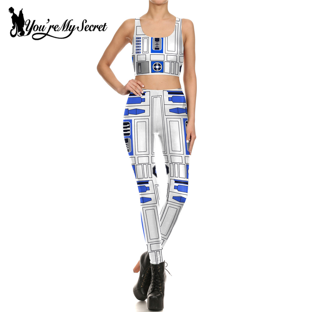 [You're My Secret]One Set Of Star Wars Cosplay Costume Artoo 2.0 Printed Leggings Women Comic Star Wars Robot Mujer Leggin Women