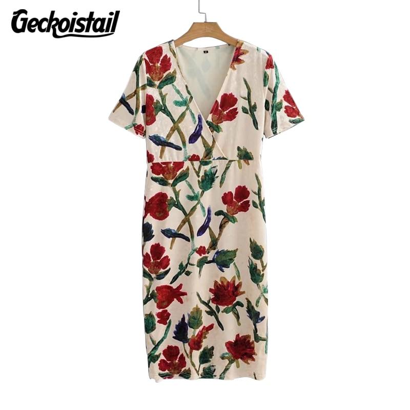Geckoistail Women Velvet Short Sleeve Dresses New Spring Fashion V-Neck Print Straight Knee-Length Ladies Dess Vestidos Clothing