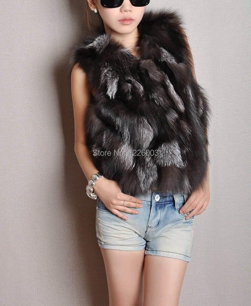 Women Genuine Fox Fur Vest Women's Winter Fox Fur gilet jacket coat outwear free shipping Wholesale Custom