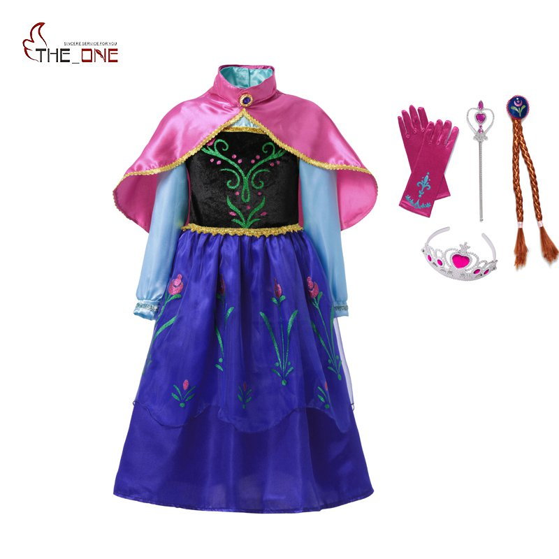 MUABABY Girls Anna Costume Kids Snow Queen Princess Party Cosplay Dresses with Cape Children Halloween Fancy Dress up 2-9 Years 2017 new girls tutu dresses festival costume children party prom clothing 2 10 11 12 years kids halloween dress