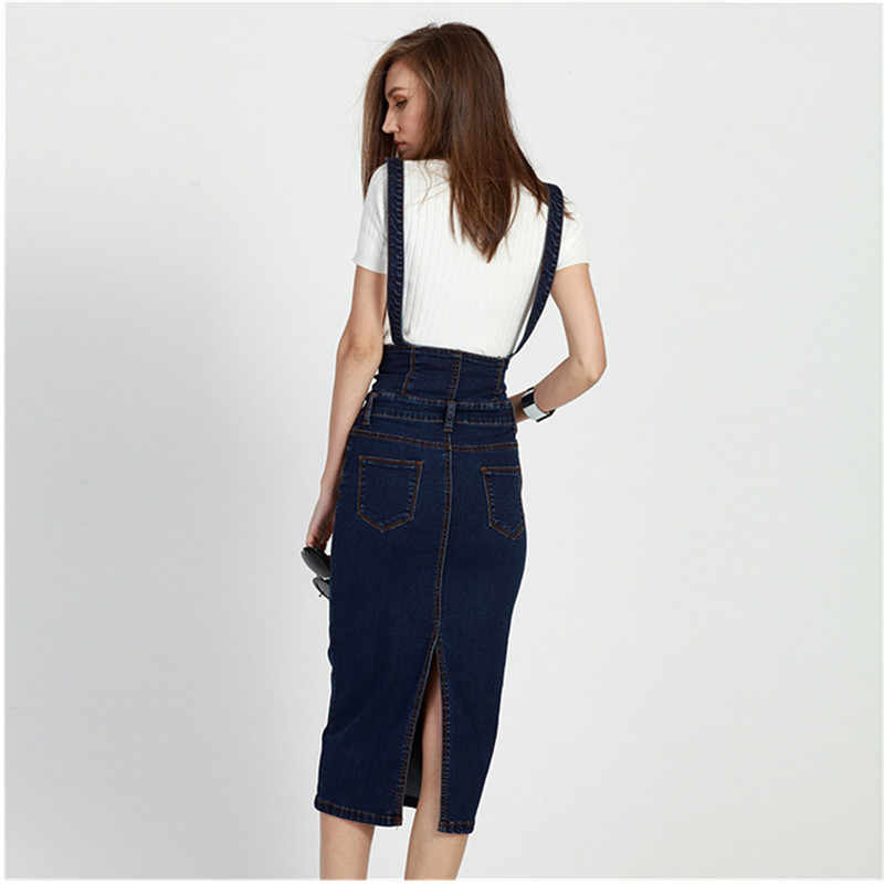 16753d4673a ... Plus Size Women Clothing Denim Suspender Skirt Long 2019 Hot Sale  Korean Style Casual Pencil Women ...