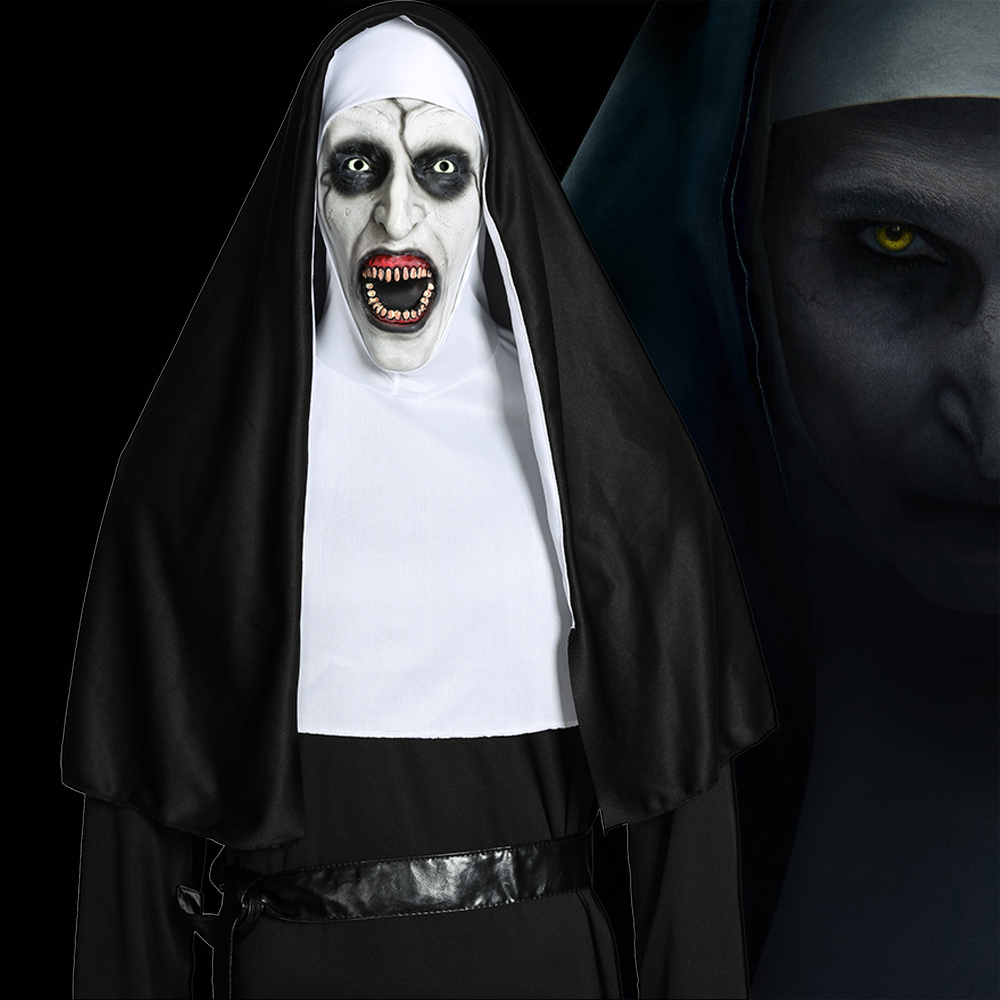 Movie The Nun Mask Cosplay Valak Costume Virgin Mary Monja Latex Horror Mask Deluxe Scary Costumes For Man Woman Halloween Party