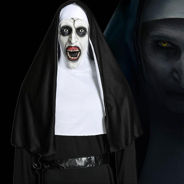 فيلم راهبة تأثيري Valak زي العذراء ماري مونيا ديلوكس ازياء مخيف للرجال النساء حفلة هالوين