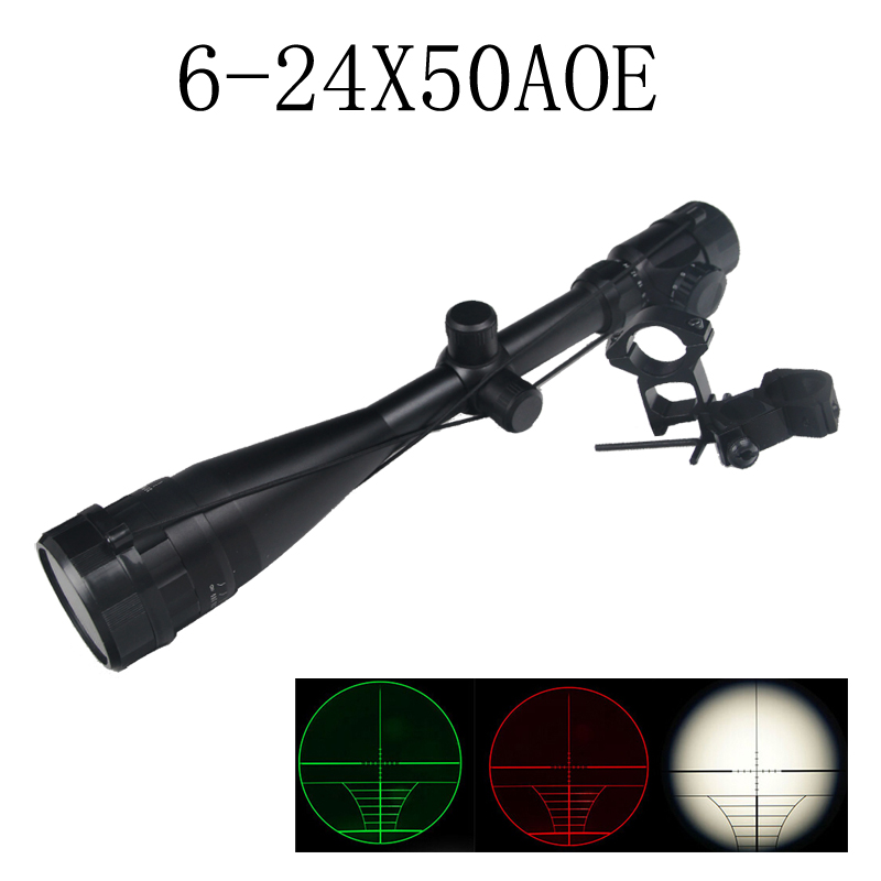 6-24x50 AOE Riflescope illuminated Riflescope Reticle Outdoor Rifle sniper Scope for Tactical Hunting Airsoft 6-0036 hanrun hr911105a diy rj45 network adapters w indicator light silver black 5 pcs