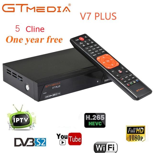 Clines GTMEDIA V7 PLUS com Cccam livre para o ano a Espanha Europa DVB-T2 1 DVB-S2 H.265 Receptor Receptor de Satélite vs Freesat v7 V8