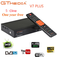 GTMEDIA V7 PLUS with free Cccam Clines for 1 year Spain Europe DVB T2 DVB S2 Receptor H.265 Satellite Receiver vs Freesat V7 V8