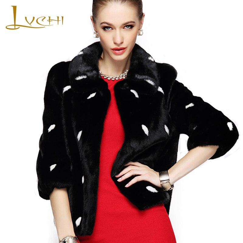 LVCHI Winter 2019 Import Velvet Real Mink Fur Coats Women's Coat Full Pelt Mandarin Collar Causal Print Feathers Mink Fur Coats