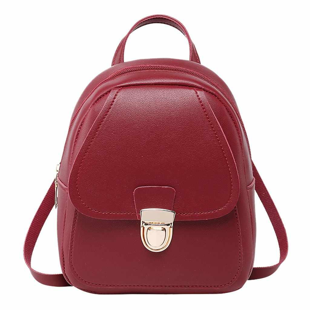 Leather Women Backpack 2019 New Retro School Backpacks Solid PU Korean Preppy Women Bags Fashion Travel Girl Backpacks May8