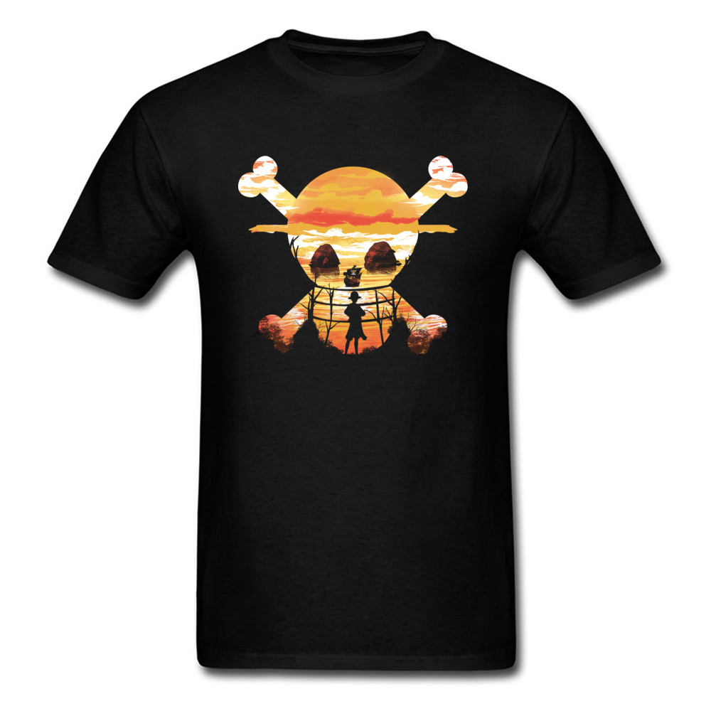 Custom Straw Hat Crew T-shirt One Piece T Shirt Luffy Tshirt Anime Tops Skull Tees For Men Pirate Adventure On The Sea Clothes