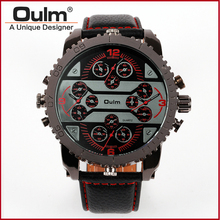 Fashion Quartz Luxury Brand OULM Watches 4 Time Zone watches Men Leather Military Watch for Men Wristwatches Relogio Masculino
