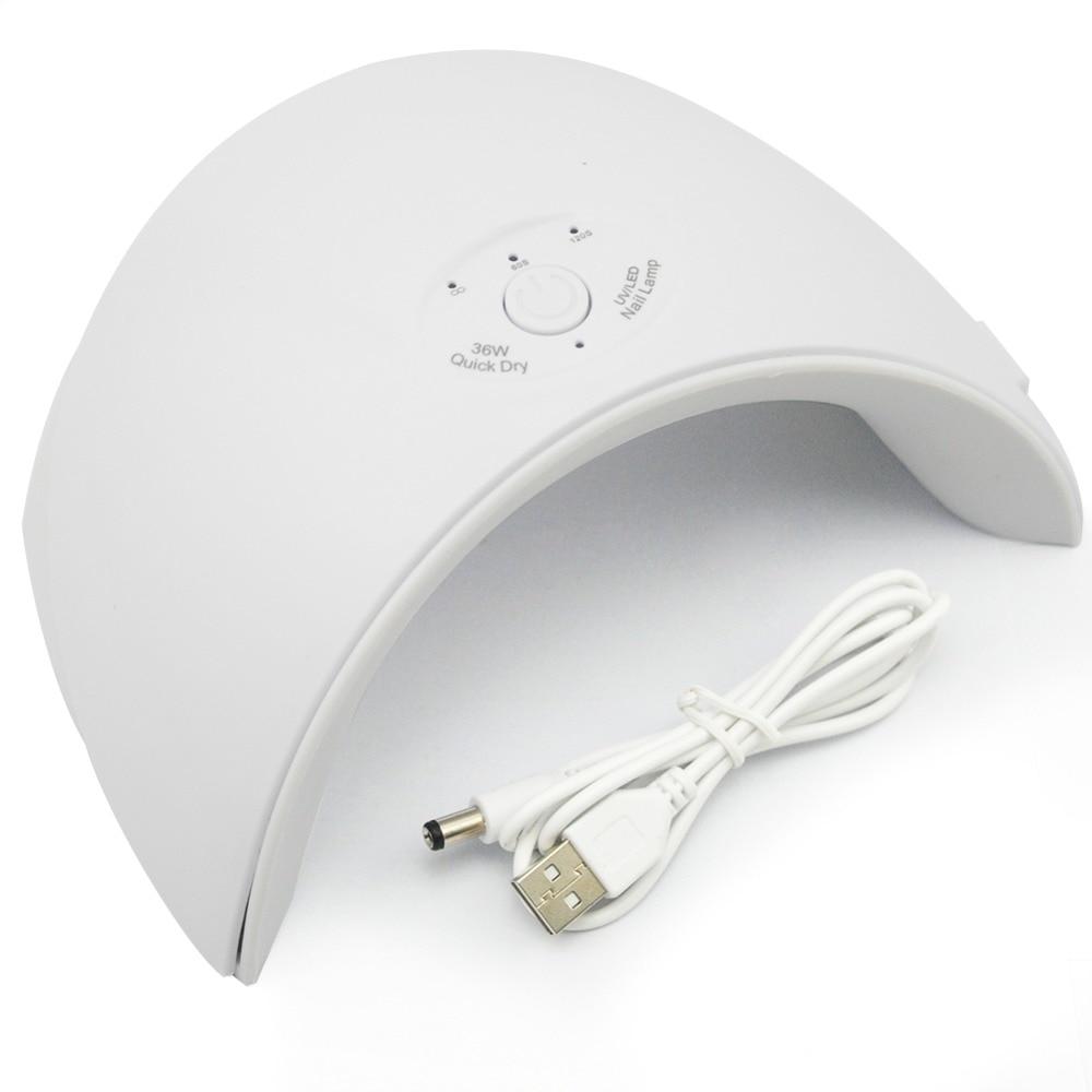 Neue 36 watt UV Led Lampe Nagel Trockner Für Alle Arten Gel 12 Leds UV Lampe für Nagel Maschine Aushärtung 60 s/120 s Timer USB Stecker
