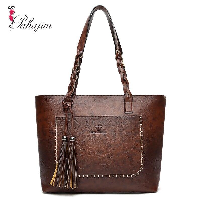Pahajim Frauen Pu-leder Tasche Quaste Handtaschen Frauen Big Totes taschen Luxus Designer Hohe Qualität sac ein haupt Vintage Schulter tasche
