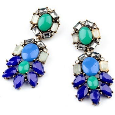 New Vintage Peacock Blue Chandelier Earring
