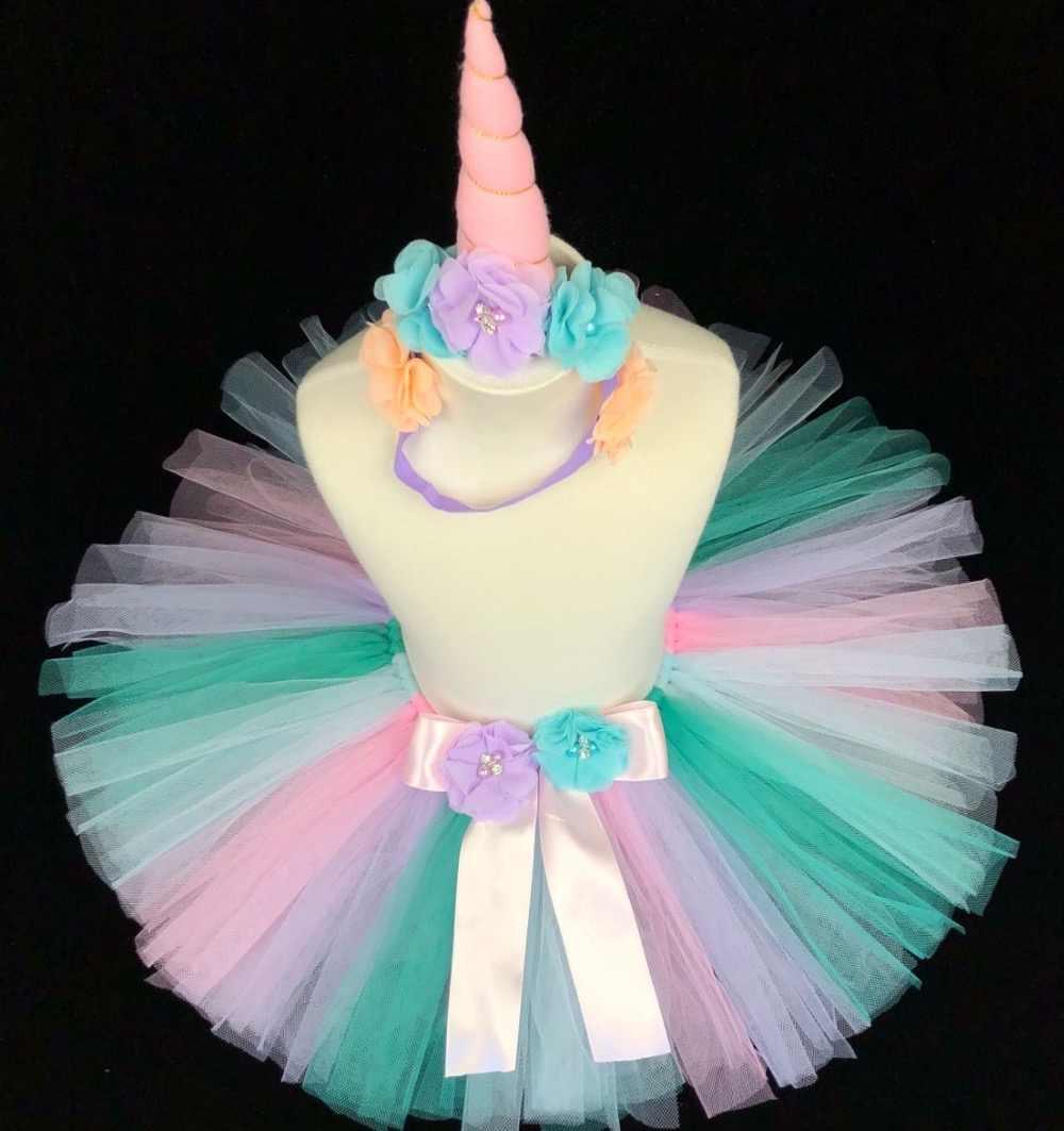 d6fa52c5730c0 Cute Girls Unicorn Tutu Skirts Kids Tulle Pettiskirts Ballet Tutus with  Flower Ribbon Bow Children Birthday