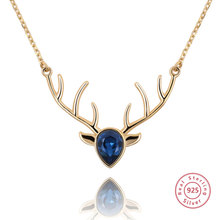 Newest Fashion 925 Sterling Silver Pendant Necklaces Unique Deer Horn Zircon Inset Charm for Women Girls Jewelry Gifts