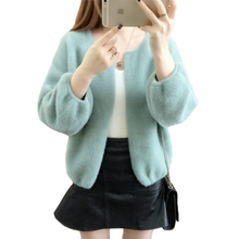 秋の女性ニットセーター韓国モヘアカーディガンコートの女性のプラスサイズスマートセーター長袖女性カーディガンジャケット