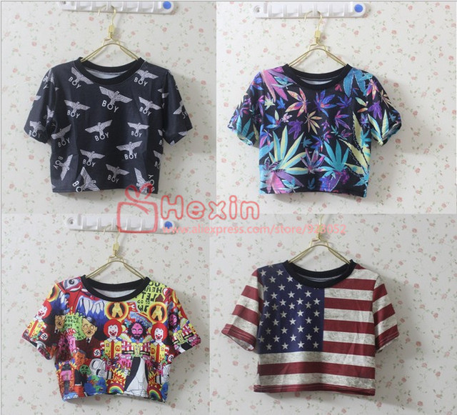 2017 Women's Tank crop Top patterns Shirt  Sexy Vest  Camis print Novelty tops Free shipping