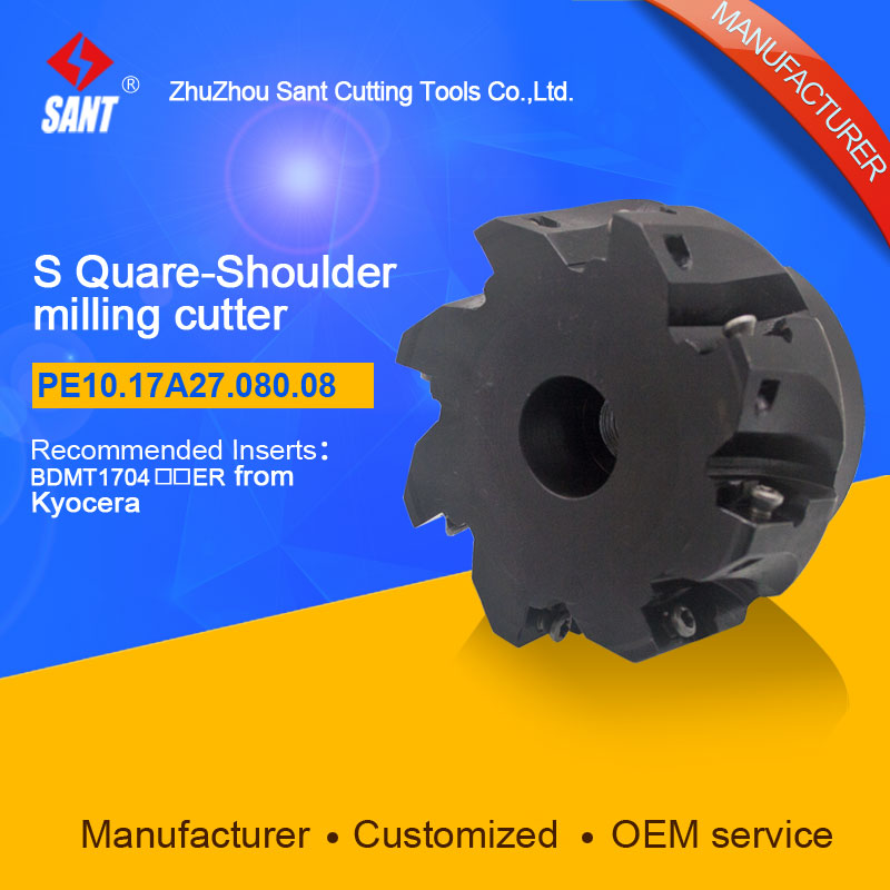 Popular CNC lathe machining center indexable square shoulder milling cutter tools holder with high precision PE10.17A27.080.08 t2139 8rxc16x200l indexable ball nose milling cutter copy milling cutter for finish machining