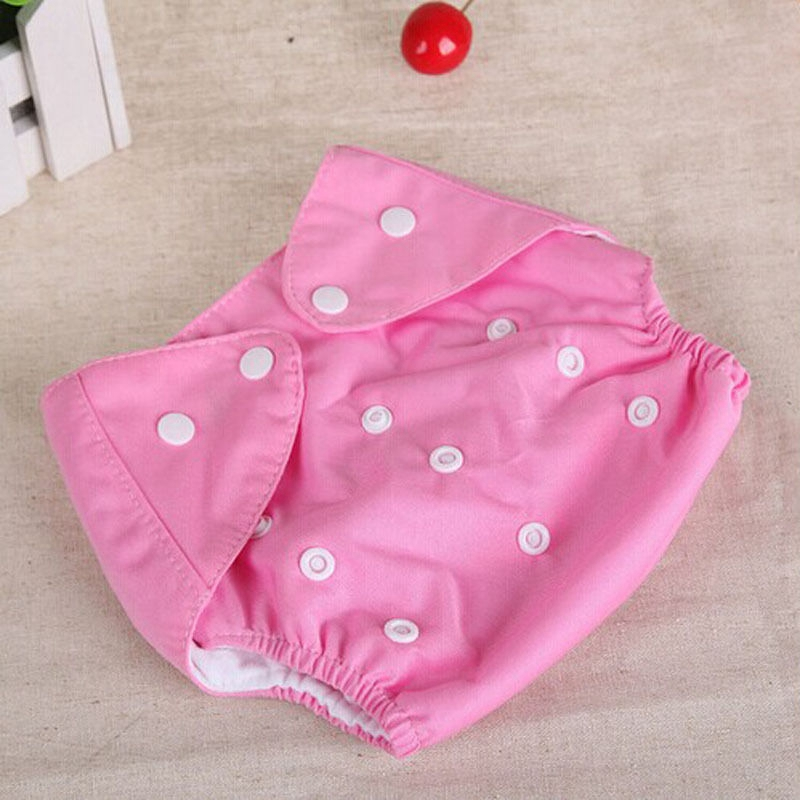 1 шт., регулируемые многоразовые тканевые подгузники для маленьких мальчиков и девочек, мягкие чехлы для младенцев, моющиеся подгузники - Цвет: Розовый