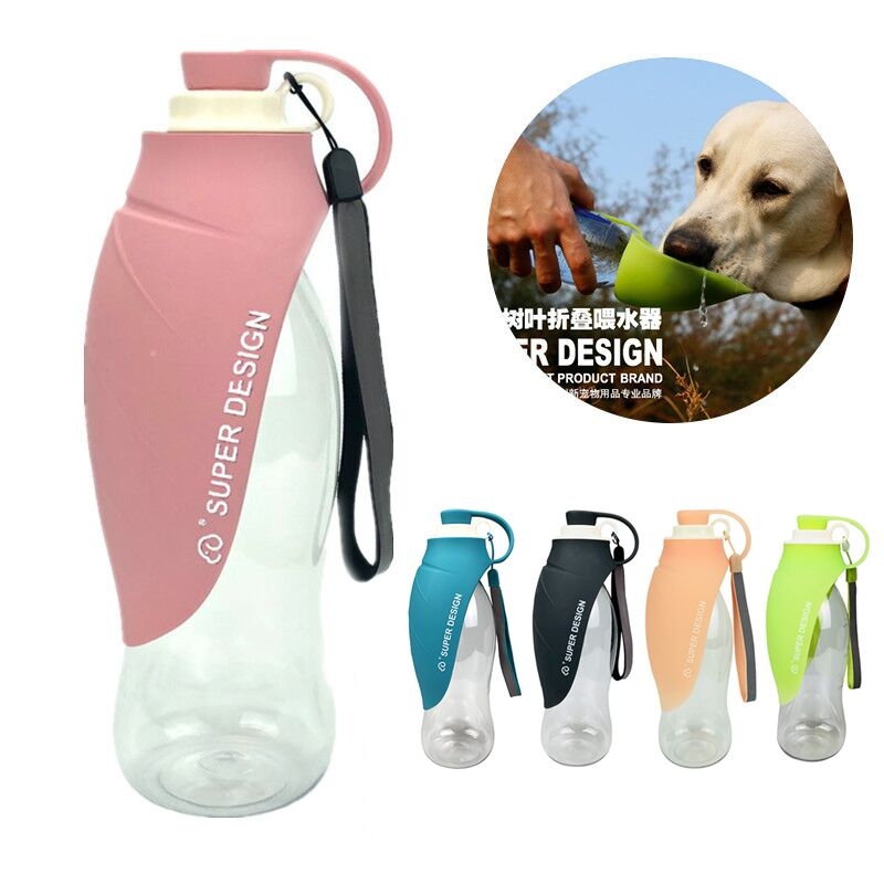 580ml Portable Pet Feeder Dog Water Bottle Cat Drinking Fountain Outdoor Travel Bowl