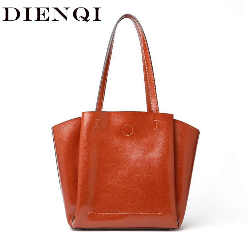 DIENQI High Quality Soft Genuine Leather Female Shoulder Bags Big Capacity Designer Women Leather Handbags Ladies
