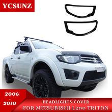 6443d01e5 Matte Black Headlights Cover Trim For Mitsubishi L200 Triton 2006 2007 2008  2009 2010 Car Styling