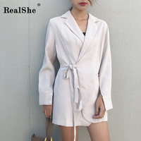RealShe Sexy Brief Women Blazer Dress Spring Lady Belt Long Sleeve Chic Elegant Blazer Mini Dress