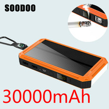 SOODOO солнечной энергии банк водонепроницаемый 20000 мАч Солнечное зарядное устройство 2USB порты Внешнее зарядное устройство банк питания для Xiaomi Iphone с светодиодный свет