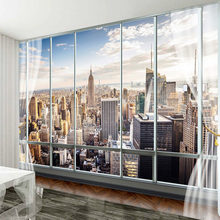 Custom Foto Muurschildering 3D Stereo Venster New York Landschap Behang Voor Kantoor Woonkamer Home Decor Muur doek(China)