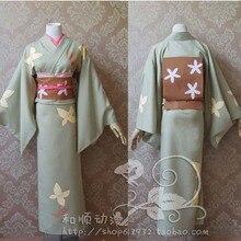 Gintama Cosplay Mujeres de Halloween Maid Japón Anime Maid Lolita Cos Disfraces Kimono + Cuello + Correa + correa de Cintura