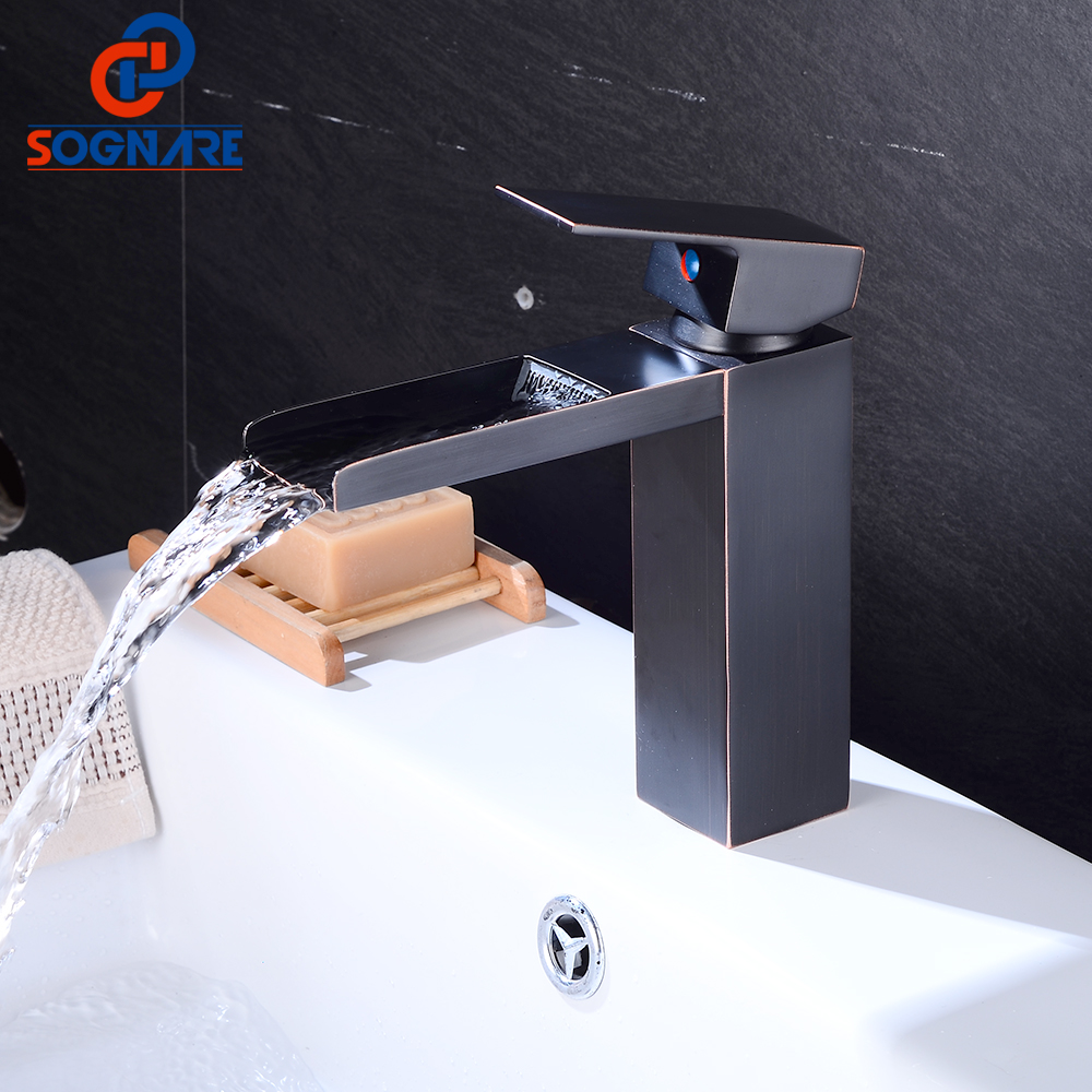SOGNARE Waterfall Bathroom Basin Faucets Brass Mixer Tap Cold and Hot Basin Sink Mixer Waterfall Tap Black Water Sink Faucet Tap flg basin faucets modern orb bathroom faucet waterfall faucets single hole cold and hot water tap basin faucet mixer taps